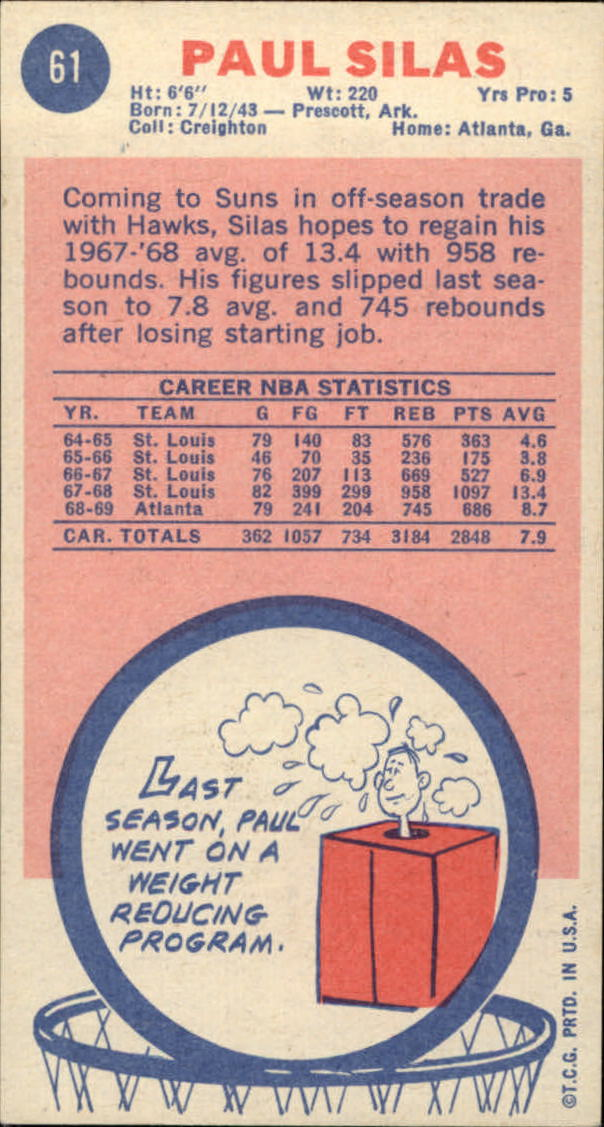 1969-70 Topps #61 Paul Silas RC back image