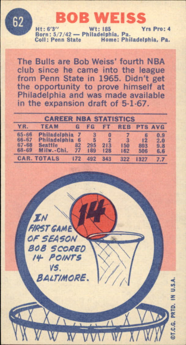1969-70 Topps #62 Bob Weiss RC back image