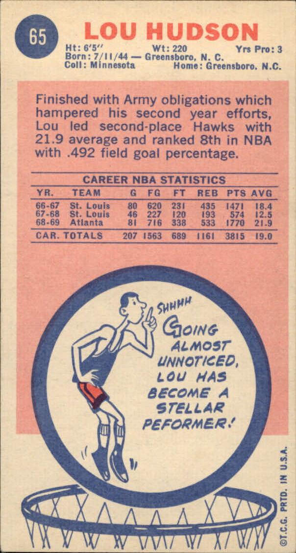 1969-70 Topps #65 Lou Hudson RC back image