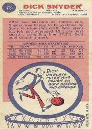 1969-70 Topps #73 Dick Snyder back image