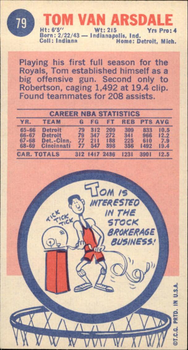 1969-70 Topps #79 Tom Van Arsdale RC back image