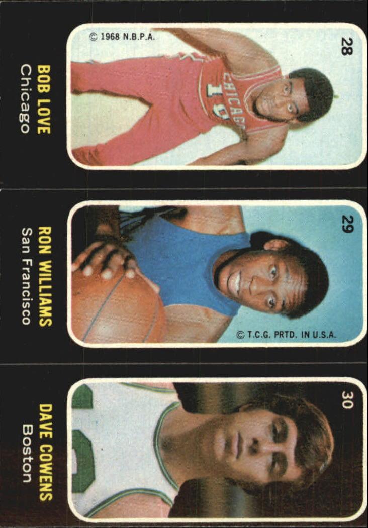1971-72 Topps Trios #28 Bob Love/29 Ron Williams/30 Dave Cowens