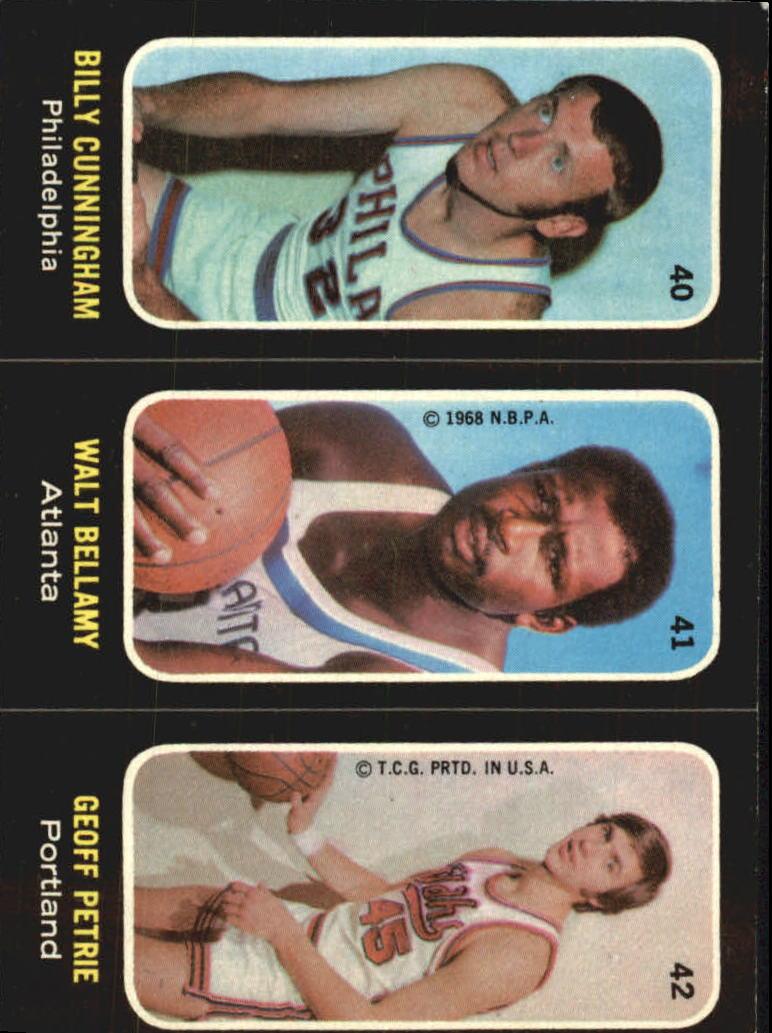 1971-72 Topps Trios #40 Billy Cunningham SP/41 Walt Bellamy/42 Geoff Petrie