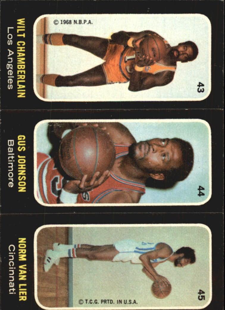 1971-72 Topps Trios #43 Wilt Chamberlain SP/44 Gus Johnson/45 Norm Van Lier