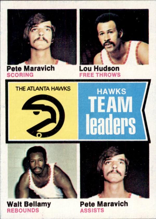 1974-75 Topps #81 Pete Maravich/Lou Hudson/Walt Bellamy/Pete Maravich TL