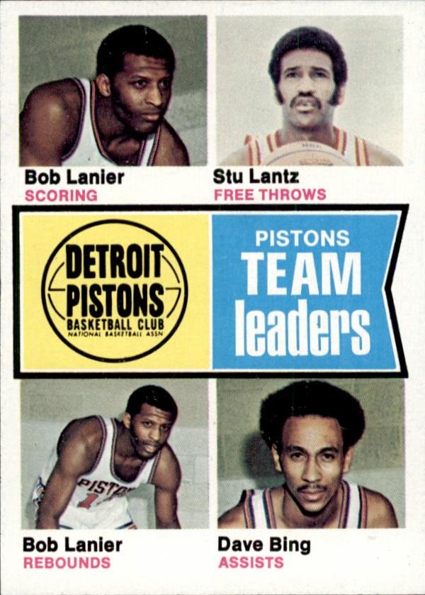 1974-75 Topps #86 Bob Lanier/Stu Lantz/Bob Lanier/Dave Bing TL