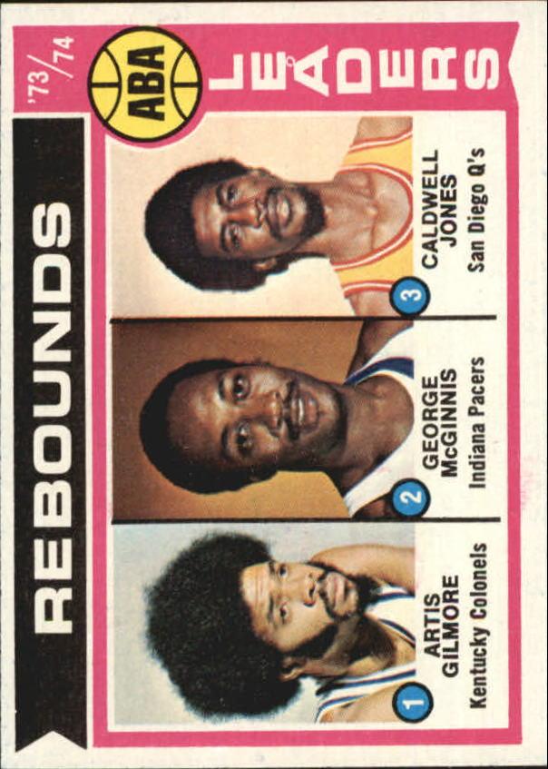 1974-75 Topps #211 Artis Gilmore/George McGinnis/Caldwell Jones LL