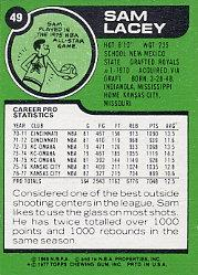 1977-78 Topps #49 Sam Lacey back image