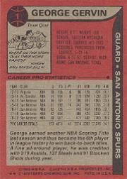 1979-80 Topps #1 George Gervin ! back image