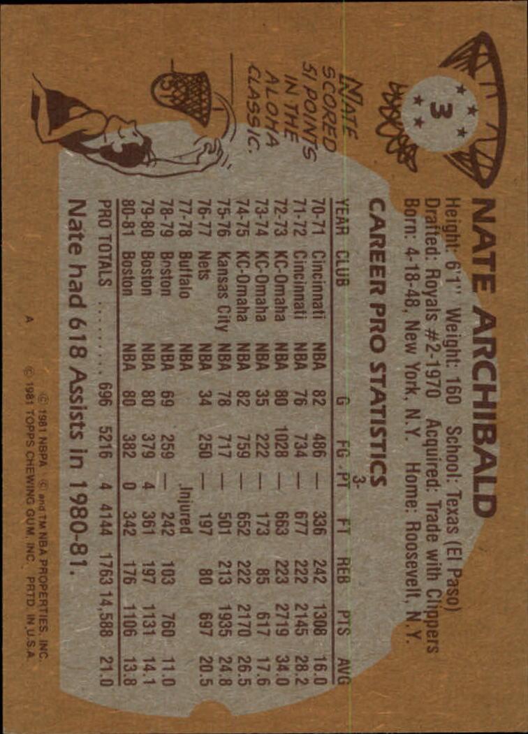1981-82 Topps #3 Nate Archibald back image