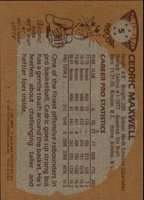 1981-82 Topps #5 Cedric Maxwell back image