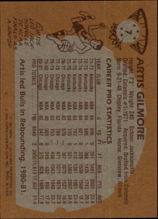 1981-82 Topps #7 Artis Gilmore back image