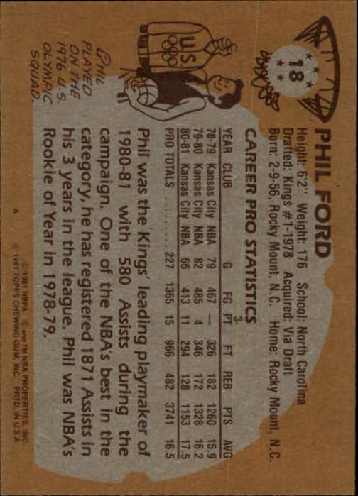 1981-82 Topps #18 Phil Ford back image