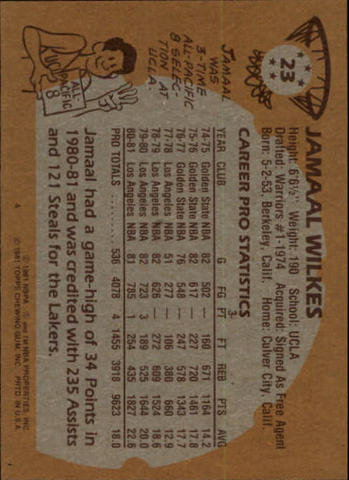1981-82 Topps #23 Jamaal Wilkes back image