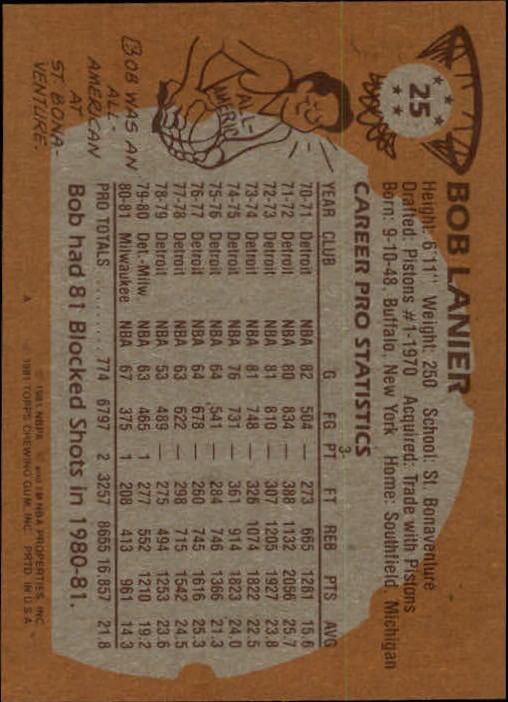 1981-82 Topps #25 Bob Lanier back image