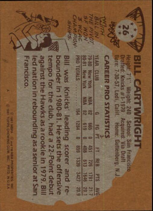 1981-82 Topps #26 Bill Cartwright back image