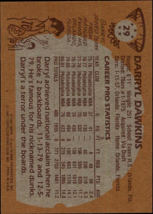 1981-82 Topps #29 Darryl Dawkins back image