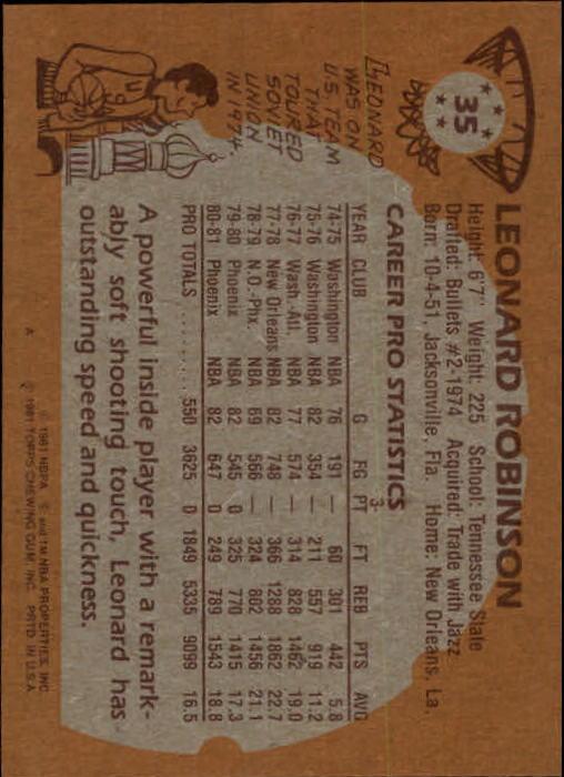 1981-82 Topps #35 Leonard Robinson back image
