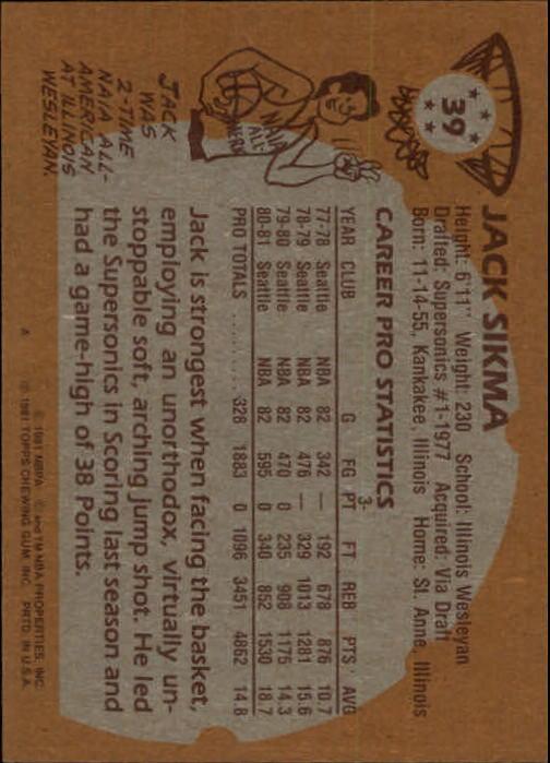 1981-82 Topps #39 Jack Sikma back image