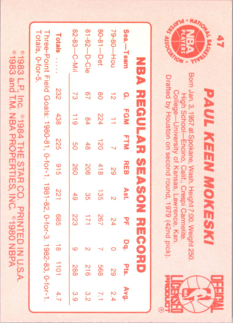 1983-84 Star #47 Paul Mokeski SP XRC back image
