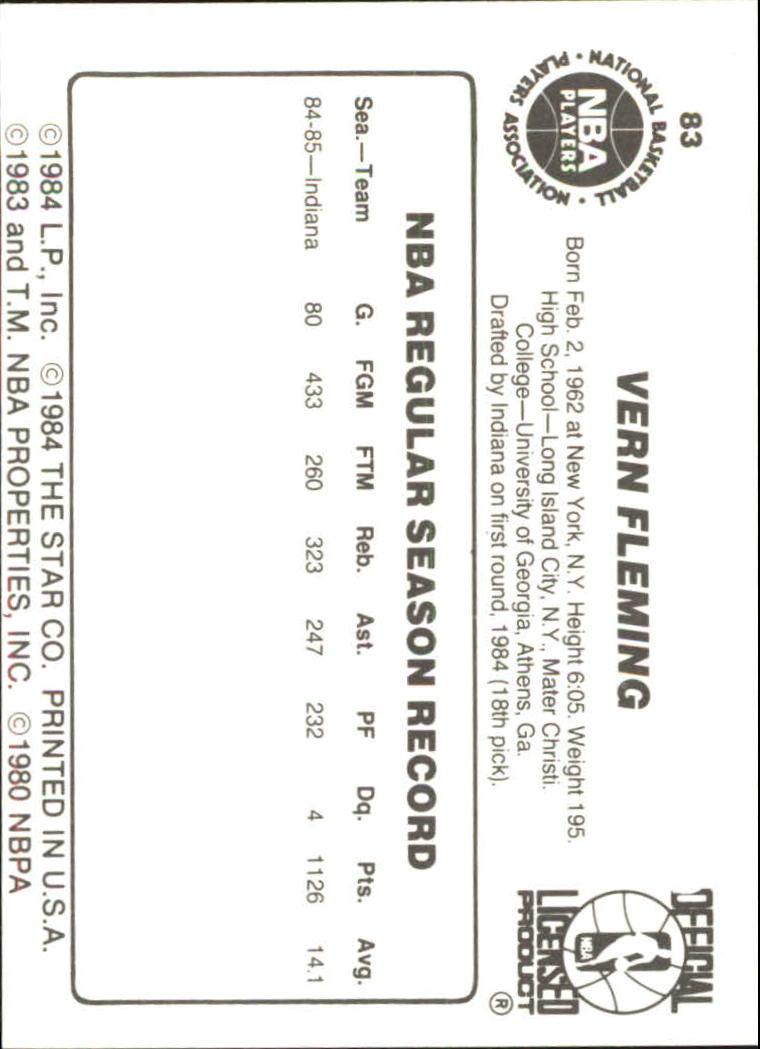 1985-86 Star #83 Vern Fleming back image