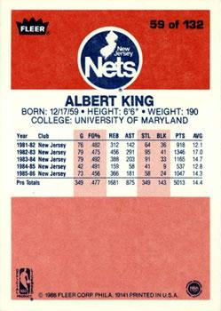 1986-87 Fleer #59 Albert King RC back image