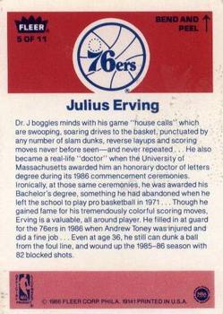 1986-87 Fleer Stickers #5 Julius Erving back image