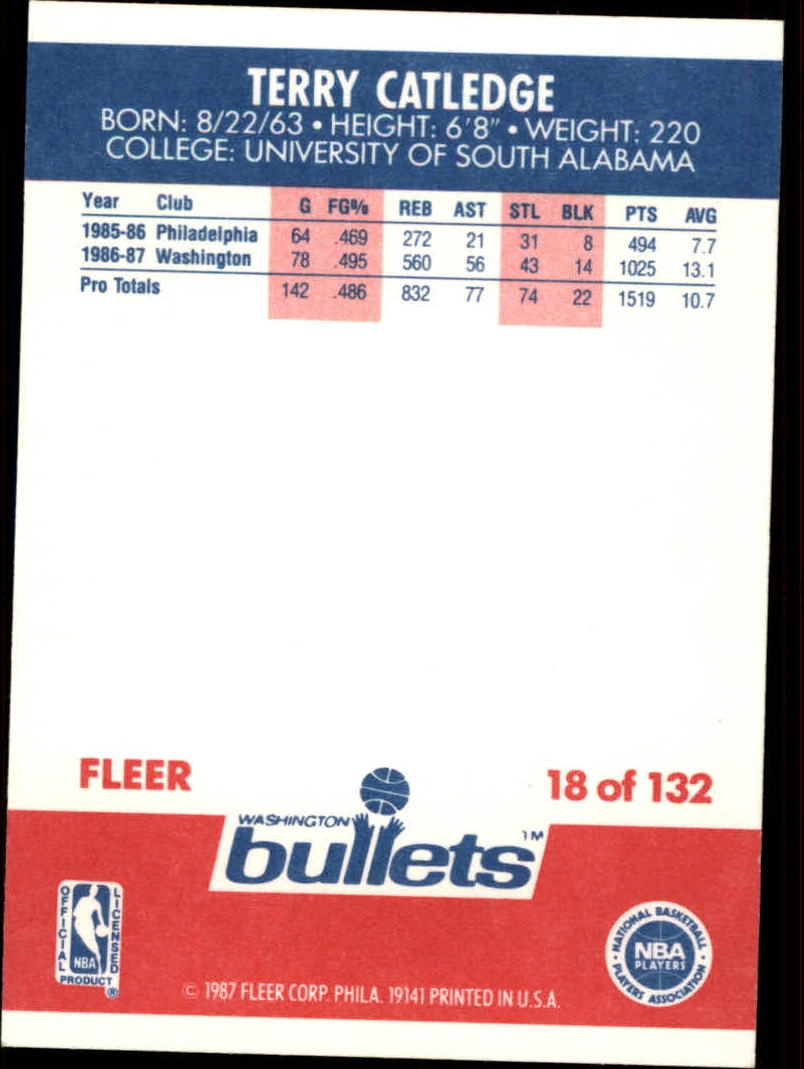 1987-88 Fleer #18 Terry Catledge RC back image