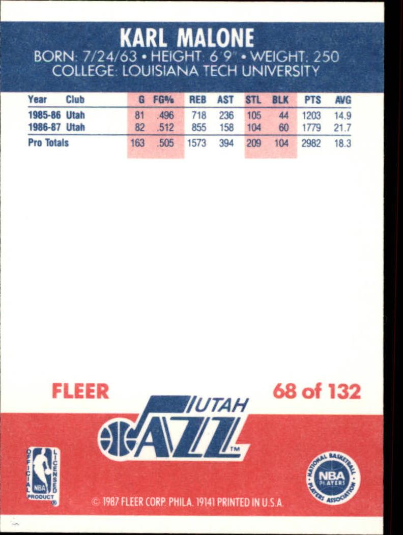 1987-88 Fleer #68 Karl Malone back image