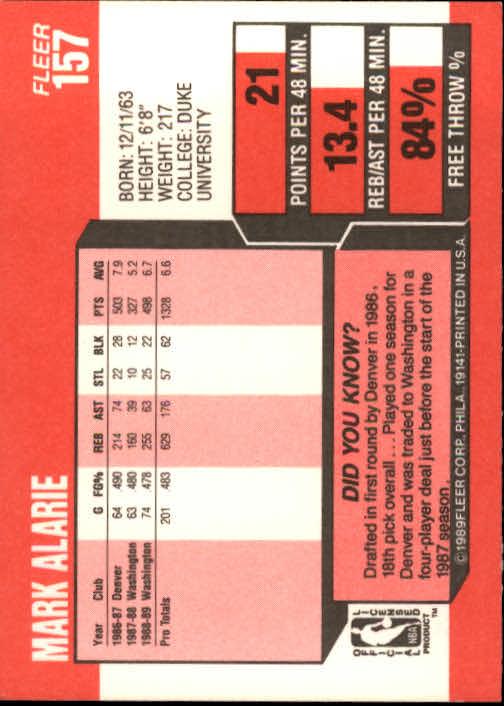 1989-90 Fleer #157 Mark Alarie back image