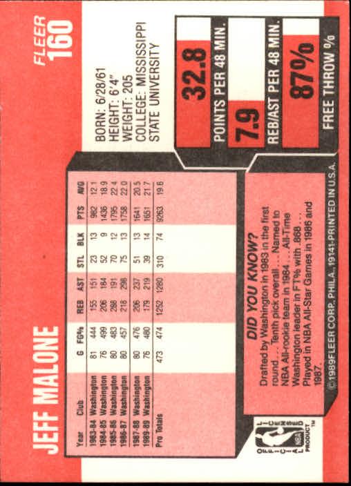 1989-90 Fleer #160 Jeff Malone back image