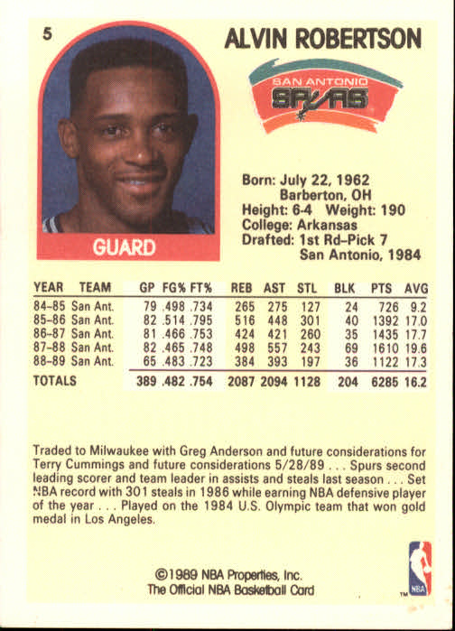 1989-90 Hoops #5 Alvin Robertson SP back image