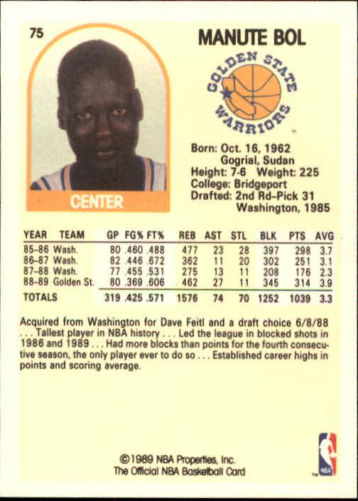 1989-90 Hoops #75 Manute Bol back image