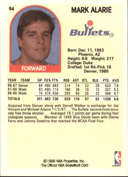 1989-90 Hoops #94 Mark Alarie back image
