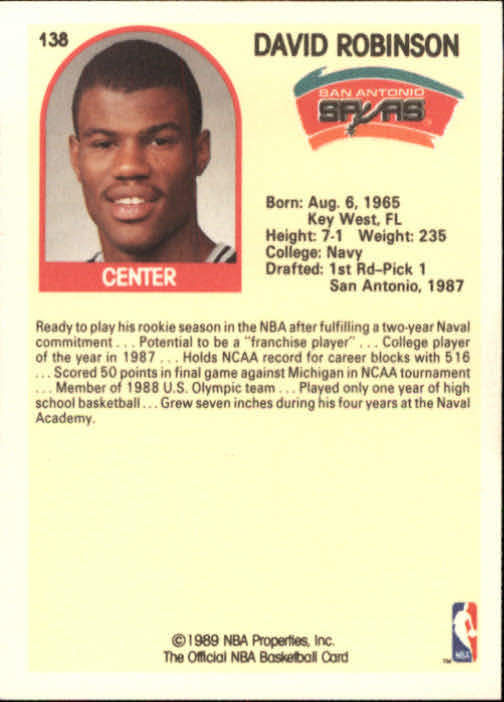1989-90 Hoops #138 David Robinson SP RC back image
