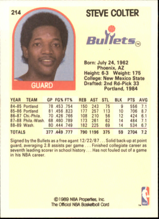 1989-90 Hoops #214 Steve Colter back image