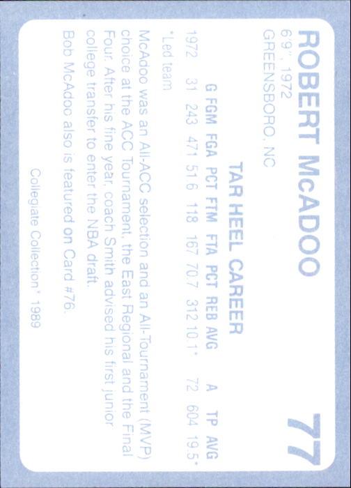 1989-90 North Carolina Collegiate Collection #77 Bob McAdoo back image
