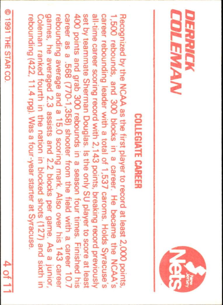 1990 Star Derrick Coleman II #4 Derrick Coleman/Collegiate Career back image