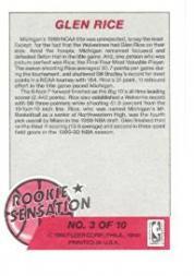 1990-91 Fleer Rookie Sensations #3 Glen Rice back image