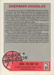 1990-91 Fleer Rookie Sensations #10 Sherman Douglas back image