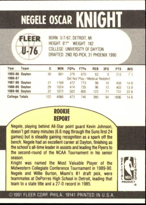 1990-91 Fleer Update #U76 Negele Knight RC back image