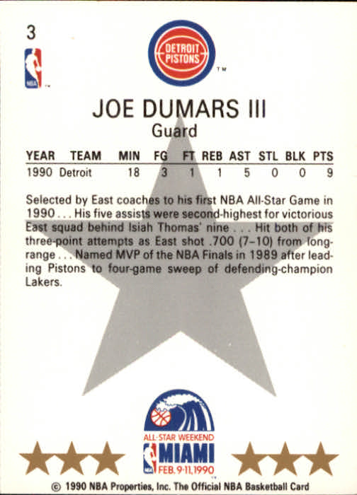 1990-91 Hoops #3 Joe Dumars AS SP back image