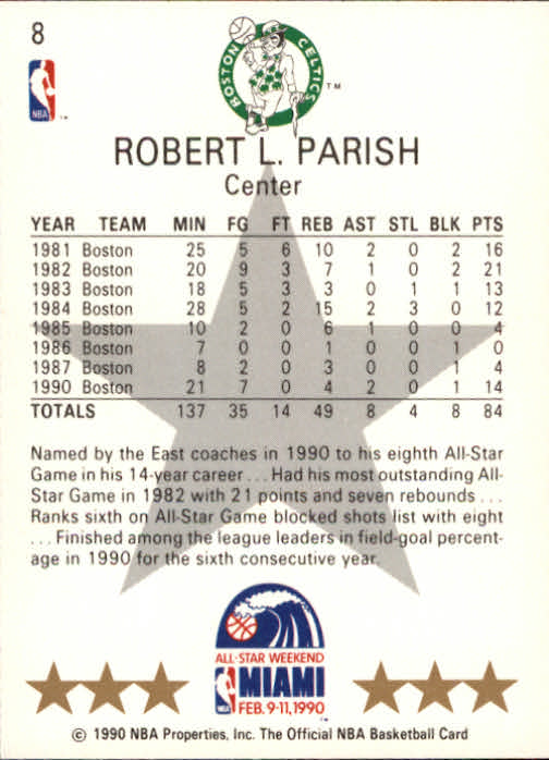 1990-91 Hoops #8 Robert Parish AS SP back image