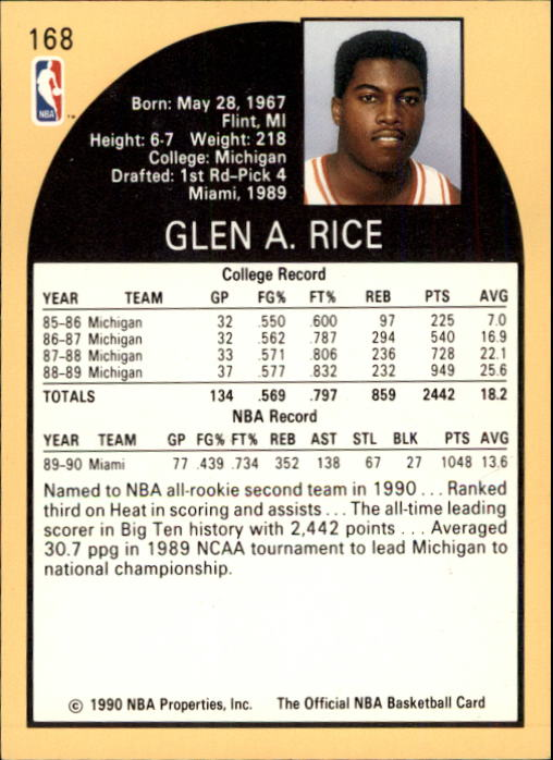 1990 91 Hoops 168 Glen Rice Rc Nm Mt