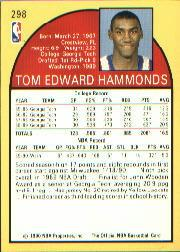 1990-91 Hoops #298B Tom Hammonds RC/(Rookie logo on front) back image