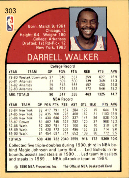1990-91 Hoops #303 Darrell Walker back image