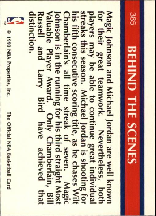 1990-91 Hoops #385 Super Streaks/Stay In School/(Magic Johnson and Michael Jordan) back image