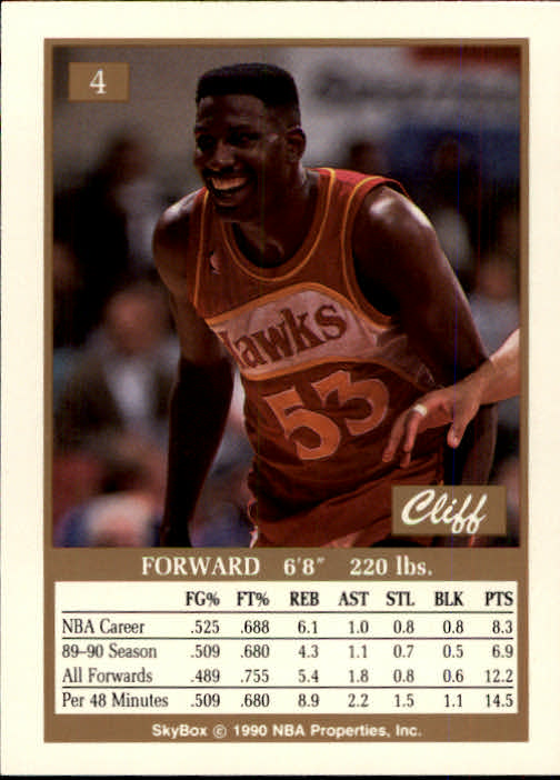 1990-91 SkyBox #4 Cliff Levingston SP back image