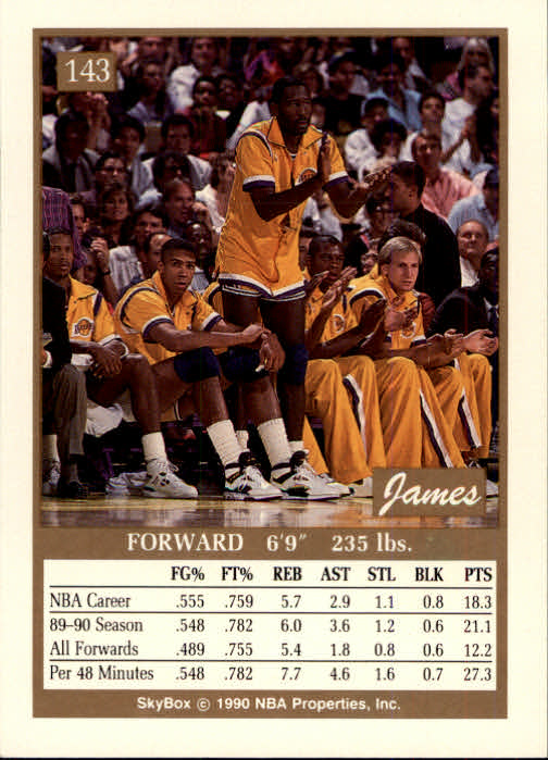 1990-91 SkyBox #143 James Worthy back image