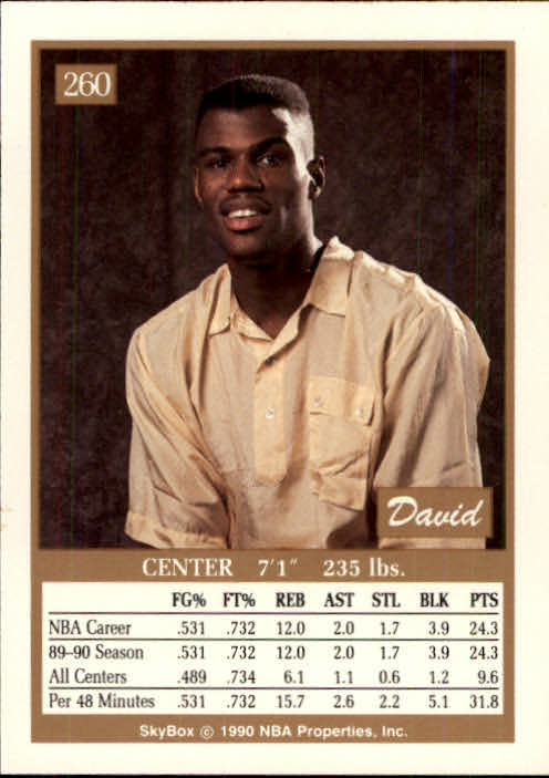 1990-91 SkyBox #260 David Robinson back image